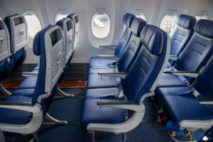The new low profile seats designed to give passengers more space.