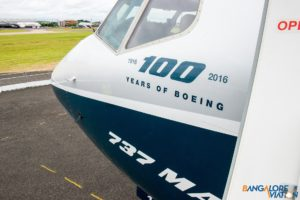 The MAX 8 is sporting the 100 years of Boeing Decal.