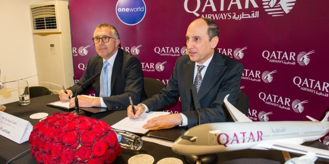 Qatar chief executive Akbar Al Bakar and LATAM CEO Enrique Cueto after announcing the investment.