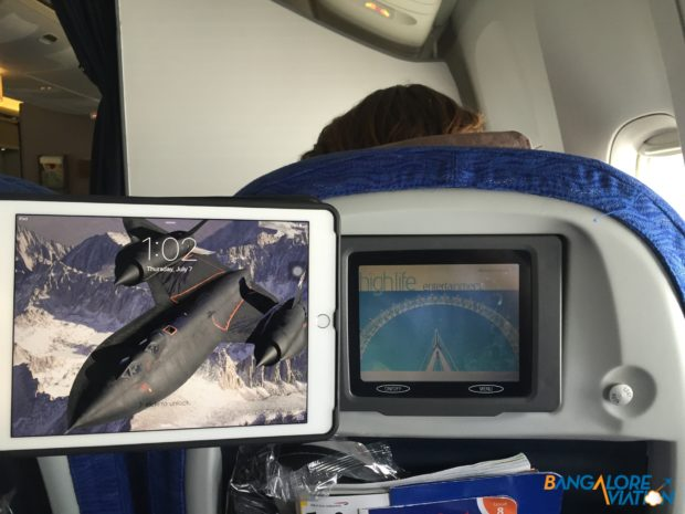 The IFE screen compared to a regular size tablet.