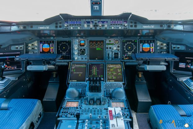 The cockpit of the A380.