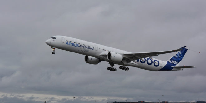 Airbus A350-1000 takes off for its first flight at Toulouse Blagnac airport, France November 24, 2016