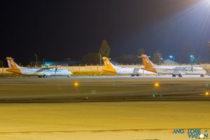 Grounded carrier Air Pegasus's fleet of ATR-72's parked at one corner of the apron.