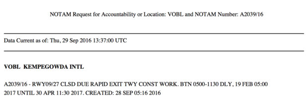 NOTAM A2039/16 announcing closure of the 09/27 runway at Kempegowda airport (VOBL)