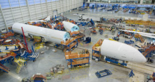 The first 787-10 fuselage beginning final assembly. Boeing Image.
