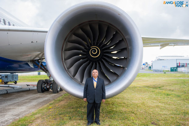 Bangalore Aviation editor Devesh Agarwal in front of the Rolls Royce Trent 1000 engine of the Boeing 787.
