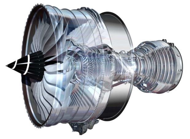 Rolls Royce Trent XWB turbo-fan engine cutout view.