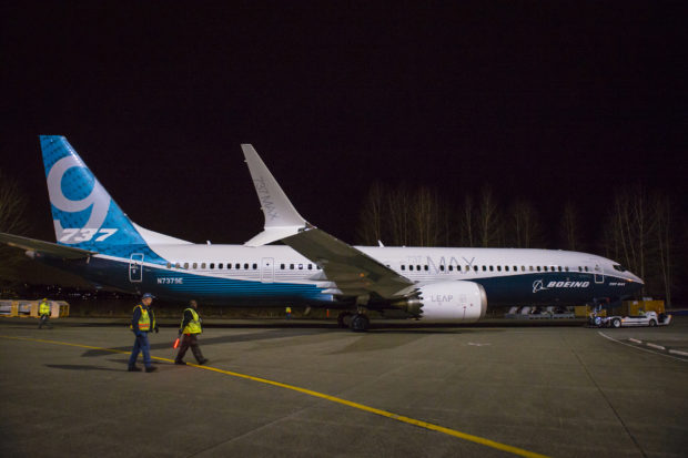 The 737 MAX 9 being rolled out of the paint hanger. Boeing Image.