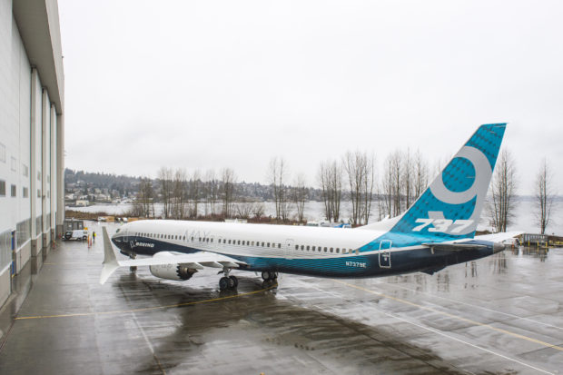 The 737 MAX 9 outside the factory doors in Renton. Boeing Image.
