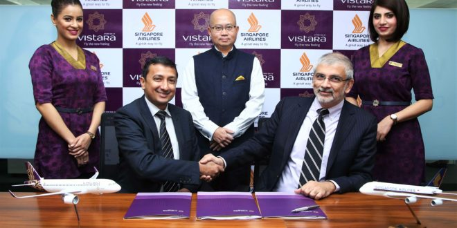 Sanjiv Kapoor, Chief Strategy & Commercial Officer, Vistara (seated right) and Leonard Louis Arul, Vice President – Partnerships & International Relations, Singapore Airlines (seated left), signed the Codeshare Agreement in Gurugram, India, in the presence of Phee Teik Yeoh, Chief Executive Officer, Vistara (centre). Accompanying them are Vistara cabin crew Purnima Sharma (left) and Shivangi Singh (right).