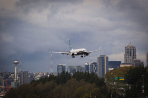The MAX 9 landing at Boeing Field.