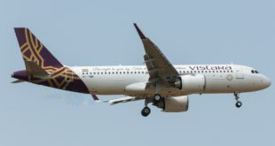 Vistara's first Airbus A320neo VT-TNB on its maiden commercial flight.