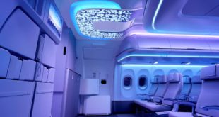 Airbus A320 Airspace cabin. Entrance area lighting. Airbus image.