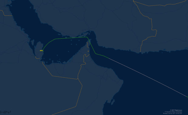 Now the flights deviate around the UAE. Flight time added about 10 minutes.