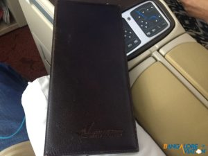 The leather bound menu.
