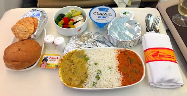 Air India business class lunch Mumbai to London Heathrow. Photo by Vedant Agarwal. All rights reserved.