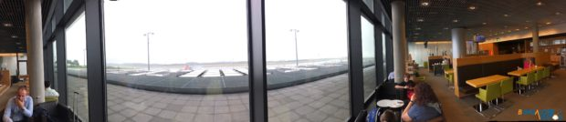 Panoramic view of the lounge and it's view.