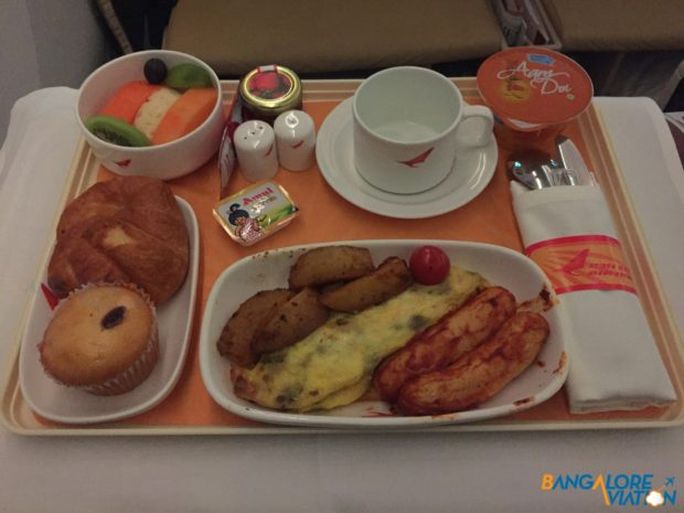 Breakfast service on Air India from Ahmedabad to London.