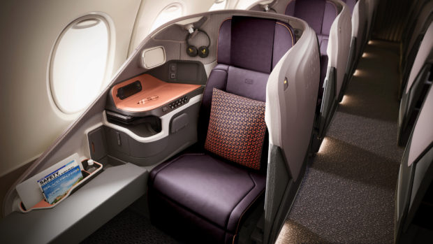 Singapore Airlines new A380 cabin. Business class.