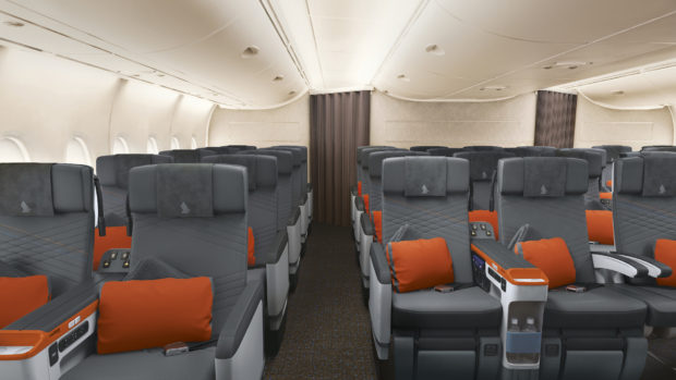 Singapore Airlines new A380 cabin. Premium Economy class.