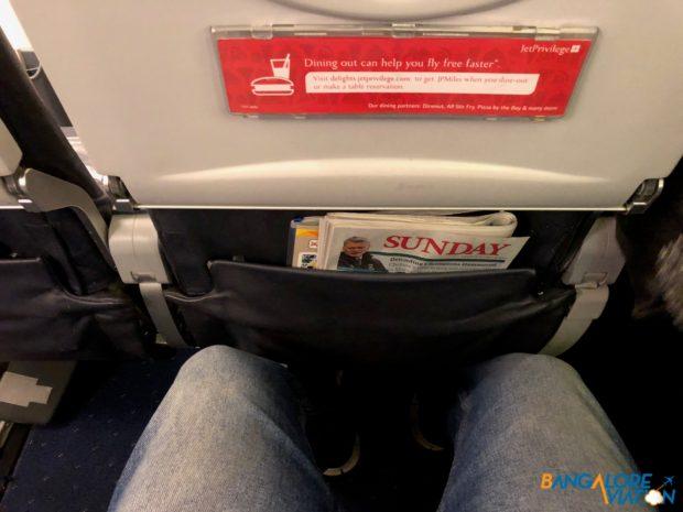 Leg room on Jet Airways' 737-800.
