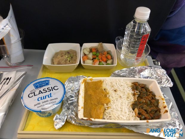 Meal on Jet Airways' flight to Singapore.