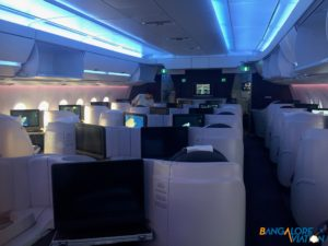 Forward business class on Qatar's Airbus A350.