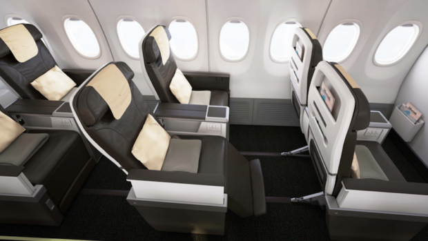 SilkAir's current 737 MAX 8 Business class cabin.