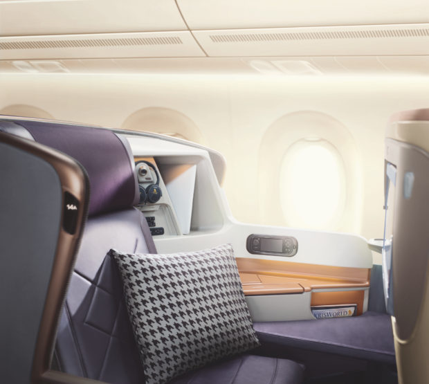 Business class on Singapore Airline's Airbus A350-900ULR.