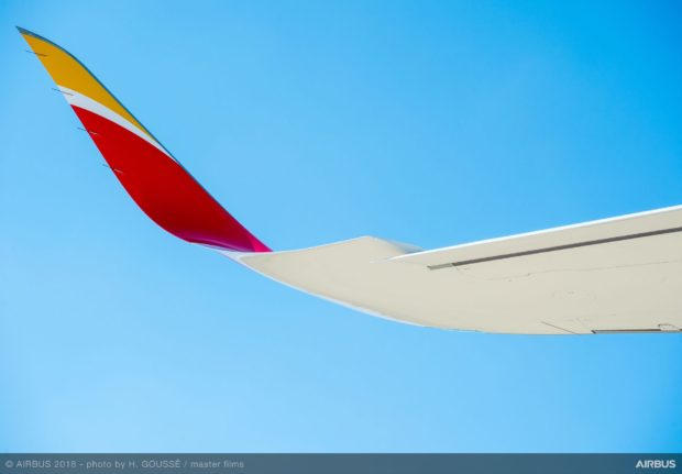 Wing-twist and larger winglets on Iberia's first high MTOW A350-900.