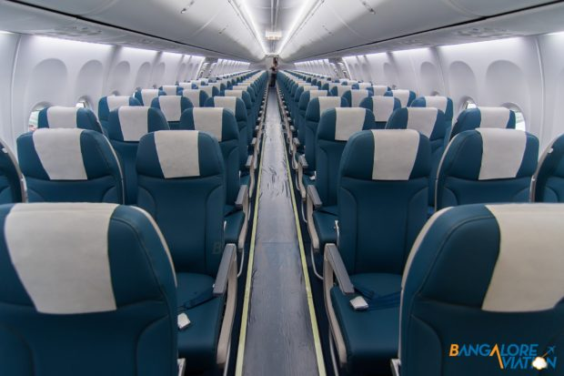 The economy class on Jet Airways Boeing 737 MAX 8.