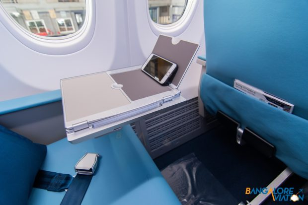 Portable device stand in business class on Jet Airways Boeing 737 MAX 8.