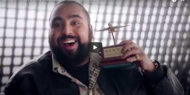 "Asim Chaudhry plays ""director"" Chabuddy G., in British Airways in-flight safety video"