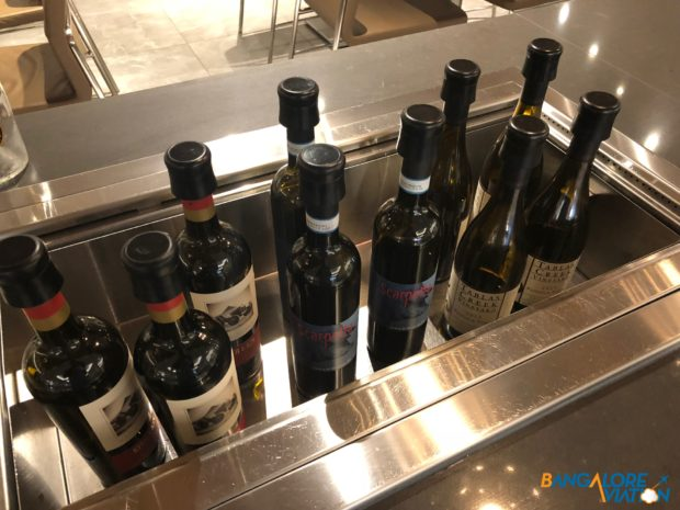 The wine selection at the AA Flagship Lounge.