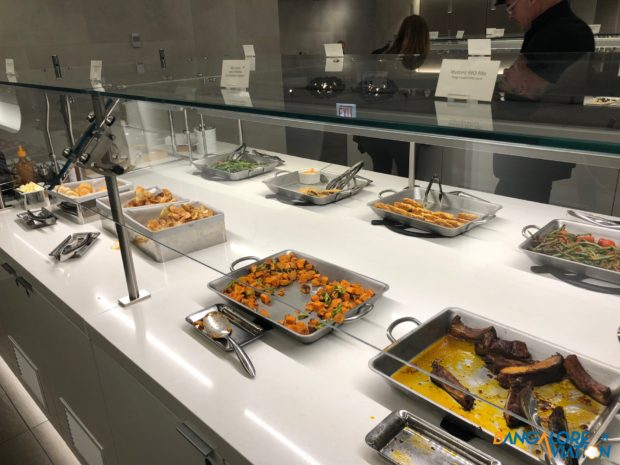 The buffet at the AA lounge at Chicago.