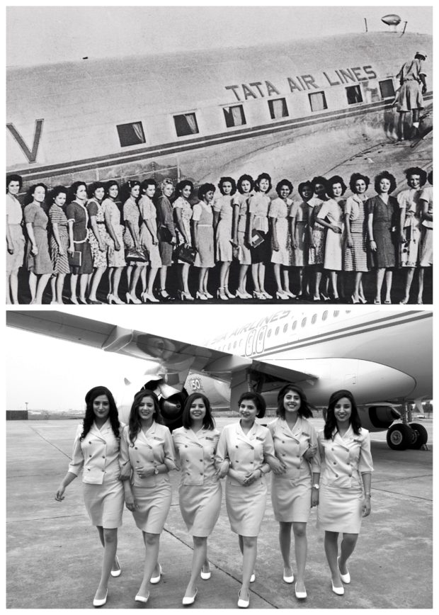 Cabin crew in the original retro uniform (above) and the 2108 version. Vistara image.