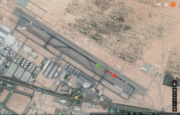 The green arrow indicates the direction the aircraft was supposed to takeoff. The red shows the direction it actually took.