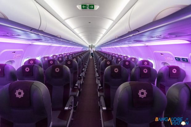 Economy class on the Retro Livery Tata SIA Airlines Vistara Airbus A320neo. Image copyright Devesh Agarwal. Used with permission.