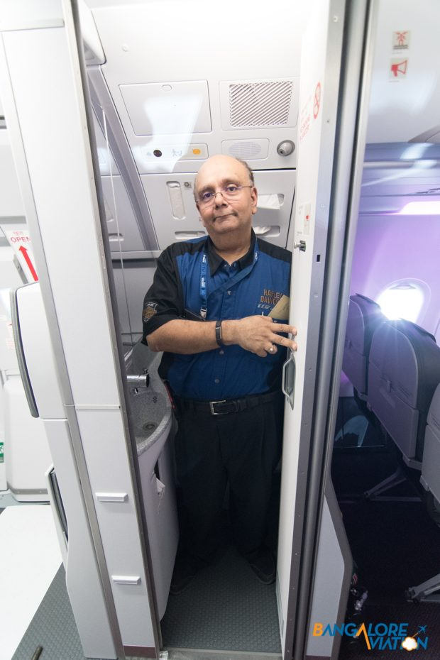 The large framed Devesh Agarwal can just about fit in to the new Airbus IntelliLav. Image copyright Devesh Agarwal. Used with permission.