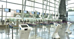 The automated self drop bag drop counters at Bangalore Airport.