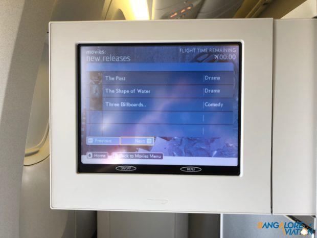 The IFE screen on British Airways 777-200.