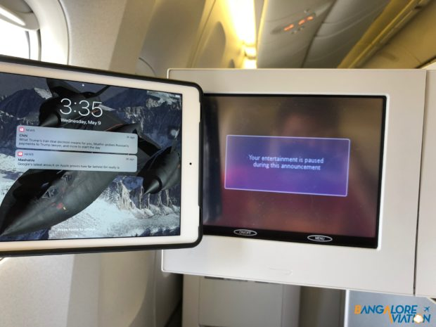 The IFE screen on British Airways 777-200 compared to a standard iPad.