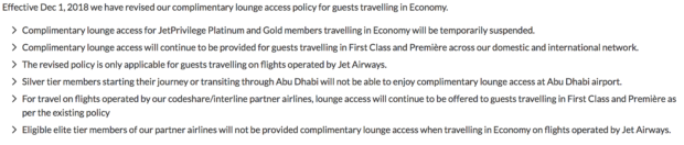 Jet Airways' revised lounge access policy from their website.