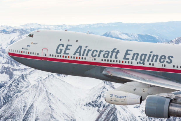 The original flying testbed N747GE in it's original colors.Testing the GE passport engine.