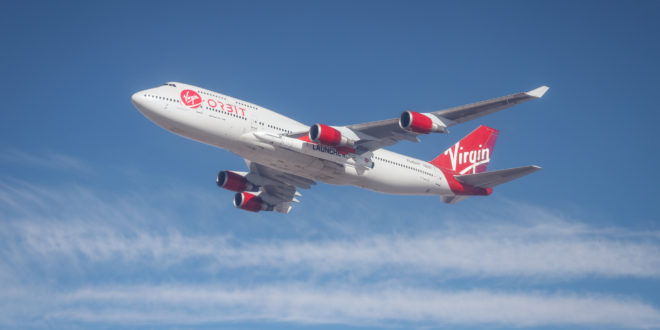 The LauncherOne pod mounted to VirginOrbit's Cosmic Girl.
