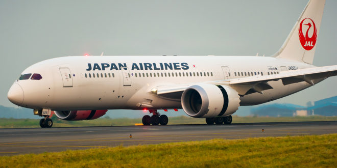 Japan Airlines Boeing 787-8 at Delhi Airport.