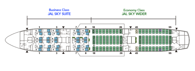 Seat map of Japan Airlines 787-8 (E12).
