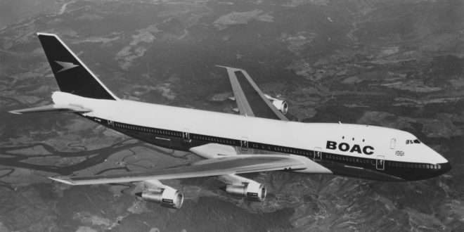 A Boeing 747 of BOAC - British Overseas Airways Corporation flying above the United Kingdom on 7 April 1971.