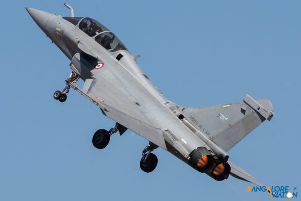 The French Air Force Dassault Rafale takes off for its display.