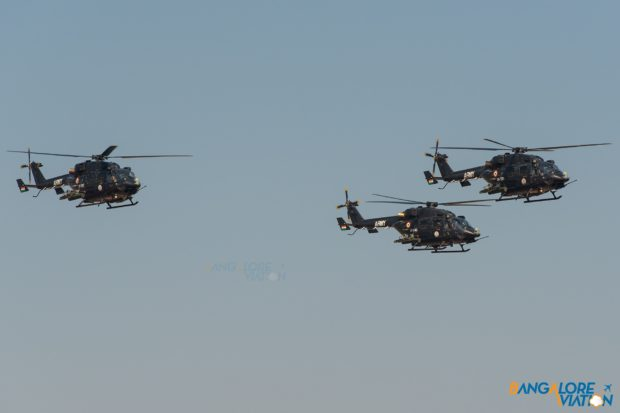 Three HAL Rudra's (ALH WSI) flying in formation at Aero India 2019.
